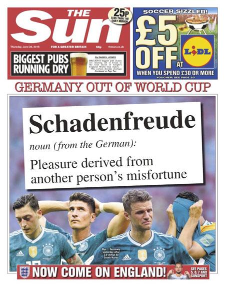 Tờ lá cải Sun châm chọc người Đức bằng trang bìa mang tính mỉa mai.