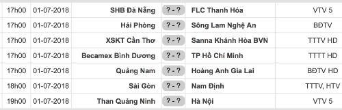 Lịch thi đấu vòng 17 V-League 2018