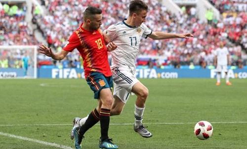 Tây Ban Nha kiểm soát bóng vượt trội nhưng vẫn để thua Nga. Ảnh: Reuters.