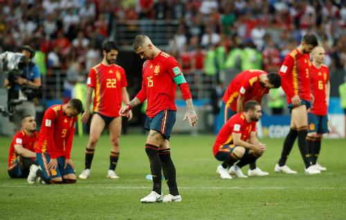 Tây Ban Nha ra về với kỷ lục World Cup. Ảnh: Reuters.