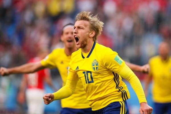 Forsberg là người hùng của Thụy Điển tối 3/7. Ảnh: AP.