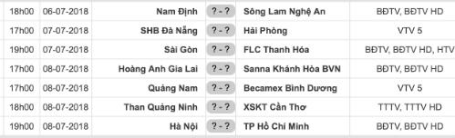 Lịch thi đấu vòng 18 V-League 2018.