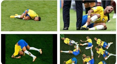 Các tư thế ăn vạ của Neymar trên đất Nga. Ảnh: Twitter.