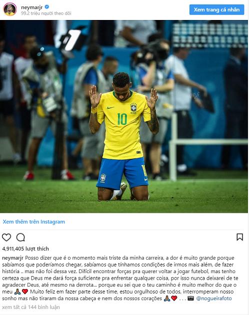Neymar trải lòng trên Instagram. Ảnh chụp màn hình.