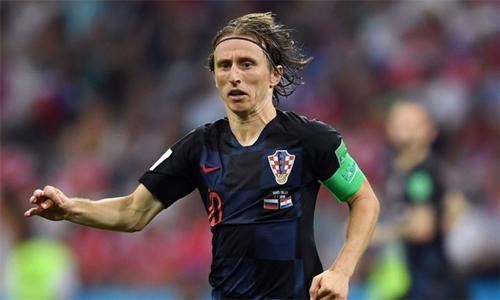Modric là một trong những cầu thủ chơi hay nhất trận gặp Nga tại tứ kết. Ảnh: Sky Sports.