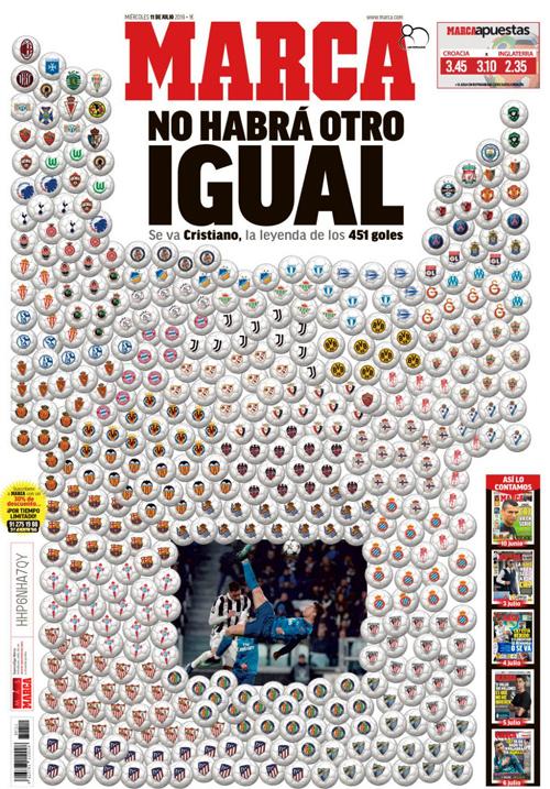 Tờ Marca dành trọn trang bìa để tri ân Ronaldo trong số báo ra sau ngày anh ra đi.