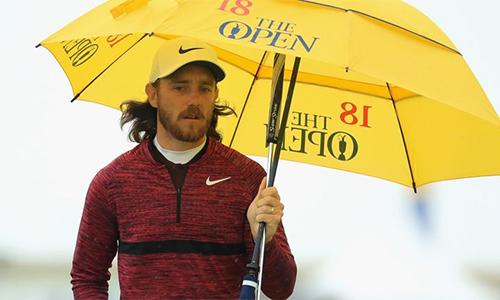 Fleetwood là người đầu tiên có vòng bogey-free tại The Open năm nay. Ảnh: Sky Sports.