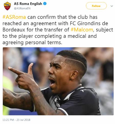 Thông báo trên trang chủ AS Roma về Malcom. Ảnh chụp màn hình.