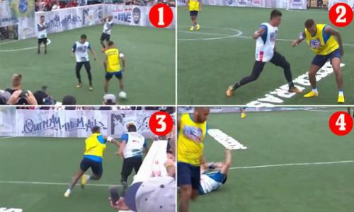 Neymar phạm lỗi ngay sau khi mất bóng.