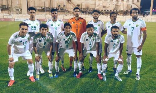 Đội hình của sân của Pakistan gặp CLB Budaiya ngày 20/7. Ảnh: PFF.