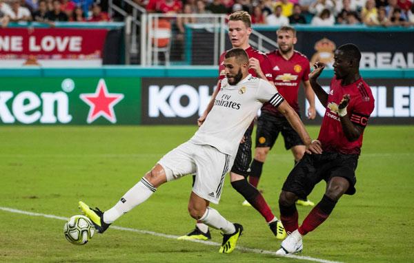 Benzema ghi bàn đầu tiên cho Real dưới triều đại HLV Lopetegui. Ảnh:AFP.