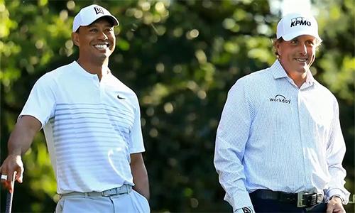 Woods và Mickelson là hai trong số những golf hay nhất đương thời, với cả thảy 19 danh hiệu major. Ảnh: Golf Channel.