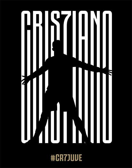 Ảnh đen trắng thông báo Juventus có được Cristiano Ronaldo.