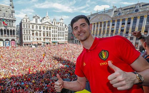 Thibaut Courtois giành danh hiệu Găng tay vàng ở World Cup 2018. Ảnh:AFP.