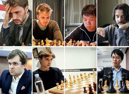 Hàng trên, trái qua phải: Cheparinov, Rapport, Wang, Alexander Morozevich.Hàng dưới, trái qua phải: Fedoseev, Daniil Dubov, Quang Liêm. Ảnh: ADCF.