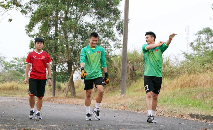 Buổi tập trong công viên của Olympic Việt Nam