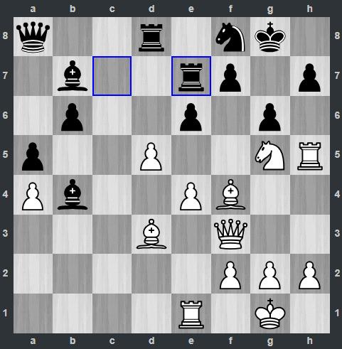 Quang Liêm vừa chạy xe sang e7 ở nước 25. Đen vẫn đang có quân bảo vệ điểm yếu f7 và h7. Thậm chí tượng đen ở b4 còn đang uy hiếp xe trắng. Nhưng Salem bất ngờ tung đòn thí mã và xevào h7 (26.Nxh7 và 27.Rxh7).