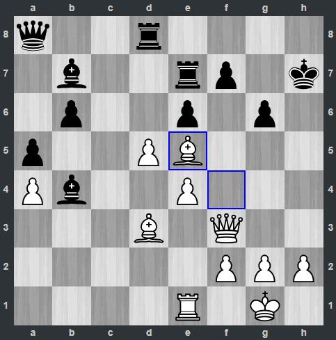 Sau đó Trắng đưa tượng lên e5 ở nước 28. Thế cờ lúc này đã khác khi Đen lộ ra những tử huyệt. Hậu trắng có hai cửa chiếu hết, ở g7 hoặc h8. Quang Liêm buộc phải mất xe để cứu vãn. Nhưng thế cờ sau đó đã nghiêng hẳn về Trắng.