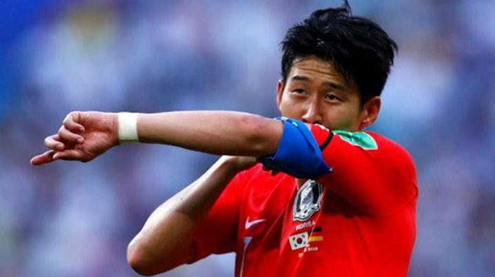 Son Heung Min ghi bàn giúp Hàn Quốc đánh bại Đức với tỷ số 2-0 ở World Cup 2018. Ảnh:AFP.