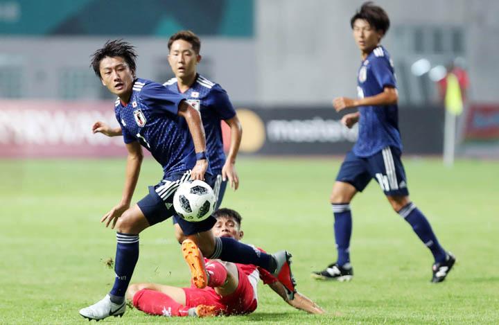 Nhật Bản mang đội U21 dự Asiad 2018 nhưng vẫn được đánh giá là ứng viên nặng ký cho tấm HC vàng môn bóng đá nam. Ảnh: Đức Đồng