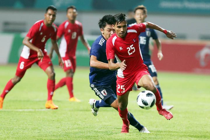 Nepal có lợi thế về hiệu số khi chỉ thua 0-1 trước Nhật Bản ở trận ra quân Asiad 2018. Ảnh:Đức Đồng.