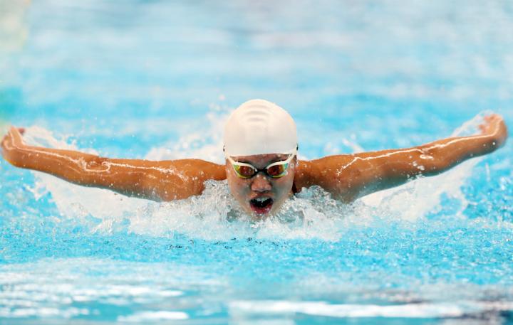 HLV Đặng Anh Tuấn cho rằng, lỗi trong hai lần đạp thành bể bị hụt, thiếu lực ở nội dung bơi bướm là nguyên nhân khiến Ánh Viên có thành tích không tốt. Ảnh: Đức Đồng.