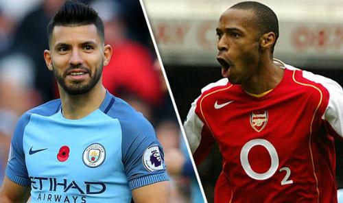 Aguero được đánh giá cao hơn chân sút vĩ đại của Arsenal là Henry. Ảnh: Sky Sport.