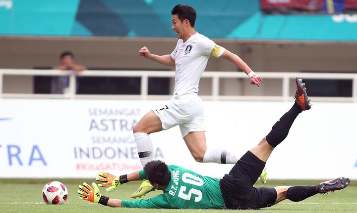 Son Heung-min trong pha bứt tốc qua Tiến Dũng, tạt bóng vào nhưng các đồng đội không thể ghi bàn ở trận đấu chiều 29/8.Ảnh: Lâm Thỏa.