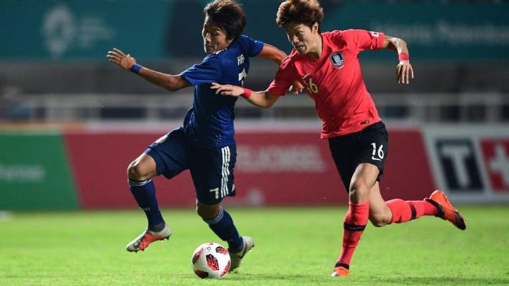 Tiền đạo Hàn Quốc, Hwang Ui-jo (áo đỏ) là vua phá lưới Asiad 2018. Ảnh: AFC.