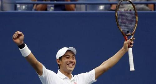 Nishikori vui mừng khi vào bán kết Mỹ Mở rộng 2018. Ảnh: Reuters.