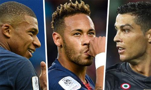 Mbappe (trái) còn rất trẻ so với Neymar và Ronaldo.