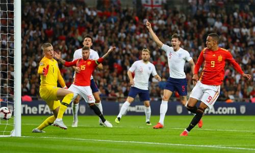 Pha dứt điểm nâng tỷ số lên 2-1 mới là bàn thứ ba của Rodrigo cho tuyển Tây Ban Nha sau bốn năm khoác áo. Ảnh: PA.