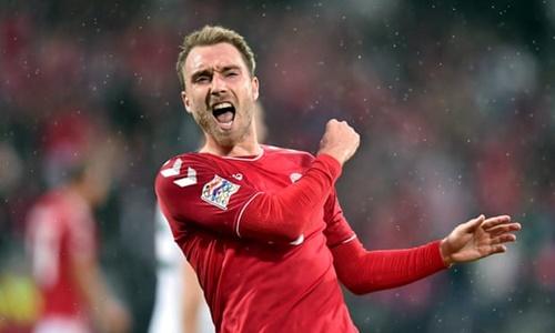 Eriksen mừng bàn thắng vào lưới xứ Wales tối 9/9. Ảnh: PA.
