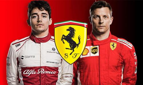 Charles Leclerc (trái) sẽ thay thế vị trí củaRaikkonen từ mùa tới. Ảnh: Ferrari.