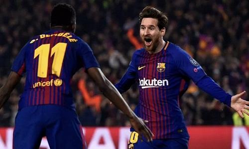 Messi ghi ba bàn trong chiến thắng đầu tiên của Barca tại Champions League 2018/2019. Ảnh: Reuters.