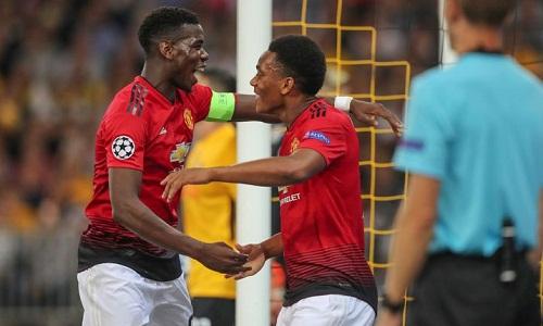 Pogba và Martial lập công trong chiến thắng 3-0 của Man Utd trước Young Boys. Ảnh: AFP.