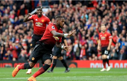 Tình huống ghi bàn của Fred là điểm sáng hiếm hoi bên phía Man Utd. Ảnh:AFP.