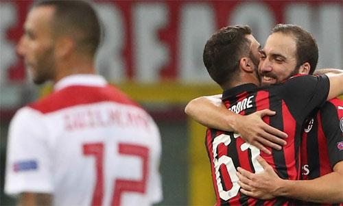 Higuain và Cutrone đều lập công cho AC Milan. Ảnh: Reuters