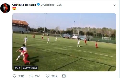 Bài đăng của Ronaldo trên Twitter nhận được hàng chục nghìn lượt bình luận.