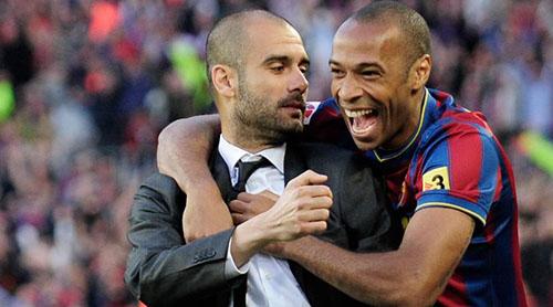Henry (phải) là học trò của Guardiola trong hainăm, từ 2008đến 2010. Ảnh: Reuters.