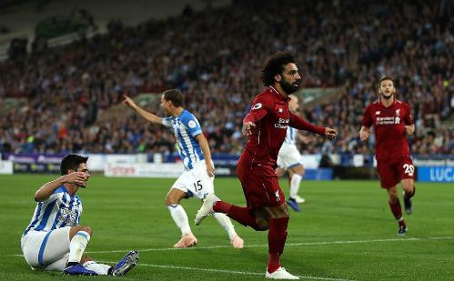 Salah ghi bàn thắng thứ 50 cho các đội bóng Anh. Ảnh:AFP.
