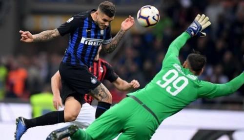 Icardi chỉ có 15 lần chạm bóng trong suốt cả trận đấu nhưng chỉ cần khoảnh khắc để mang về chiến thắng cho Inter. Ảnh:Reuters.