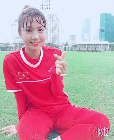 Trần Thị Duyên trong màu áo tuyển U19 nữ Việt Nam.
