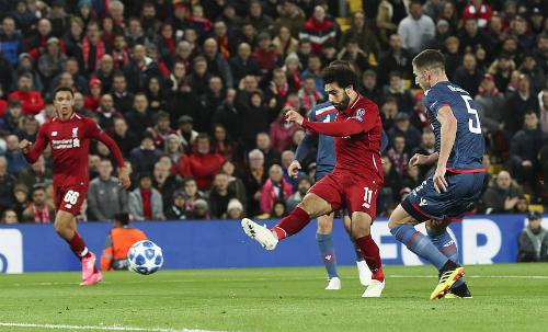 Salah ghi bàn nhân đôi tỷ số vào phút cuối hiệp một. Ảnh:DM.