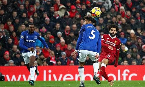 Bàn thắng vào lưới Everton của Salah đã nhận giải FIFA Puskas năm 2018. Ảnh: PA.