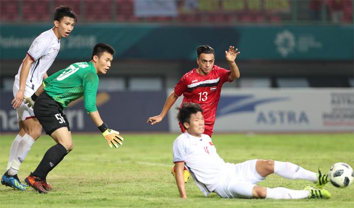 Các tuyển thủ Việt Nam sẽ mặc trang phục giống như khi vượt qua Syria để vào bán kết Asiad 2018. Ảnh: Đức Đồng.