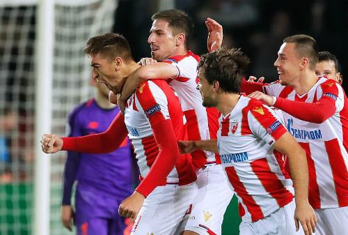 Chiến thắng trước Liverpool giúp Red Star mở ra cơ hội giành vé đi tiếp. Ảnh: AFP.