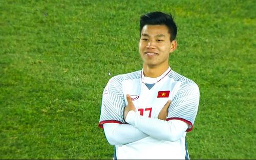Kiểu ăn mừng thú vị của Văn Thanh ở giải U23 châu Á tại Thường Châu, Trung Quốc.