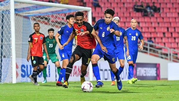 Timor Leste hoàn toàn lép vé trước sức mạnh của Thái Lan. Ảnh: AFF Cup.