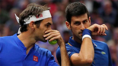 Federer và Djokovic đã cải thiện mối quan hệ trong thời gian gần đây. Hai người từng đánh đôi cùng nhau tại Laver Cup, giải đấu do quỹ của Federer tổ chức. Ảnh: Sky.